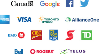 Subscriber logo grid, including banks, credit card companies and telcos